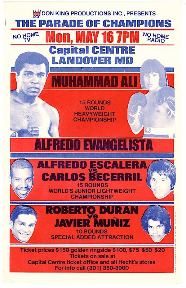 Ali/Evangelista flyer